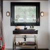 black interior awning over bathroom vanity