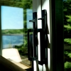 Executive Hardware in a Black Finish on a 4-Panel / Bi-Parting Door
